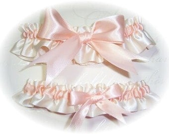Gorgeous Ivory and Peach Keepsake and Toss Wedding Garter Set BB