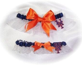 New York Mets Wedding Garter Set   Handmade   Keepsake and Toss  Bridal  NY wno