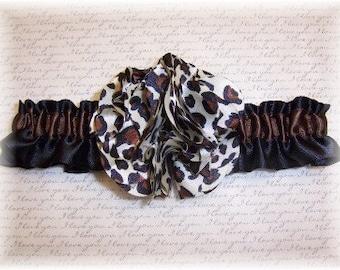Black Satin Leopard Wedding Garter