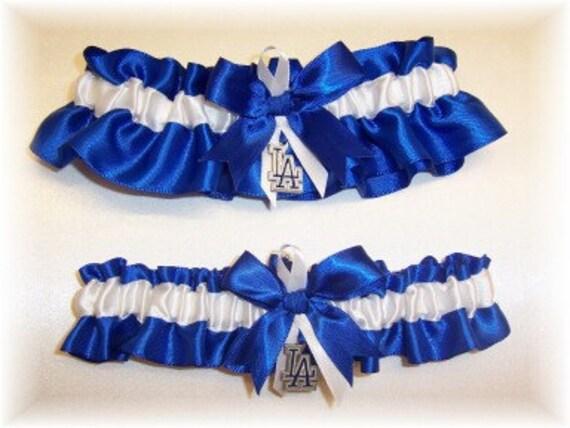 Los Angeles Dodgers Wedding Garter Set with charms  Handmade  Keepsake and Toss   Satin RW