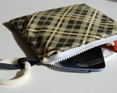 SALE MINI Pepper Plaid Zippered Wet Bag with Handle/Link Loop Combo