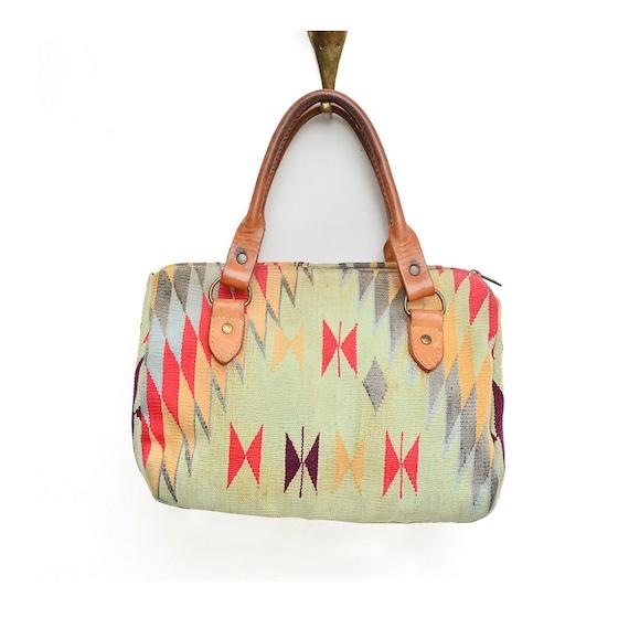 vintage cotton canvas and leather SOUTHWESTERN handbag