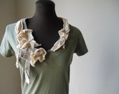 Boho Cream Wisps Woodland Shirt Green Jersey Shabby Chic Tattered Faerie Top Bohemian Fashion