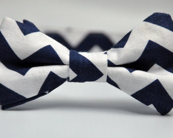 Boy's Bow Tie Navy Blue and White Chevron Bowtie