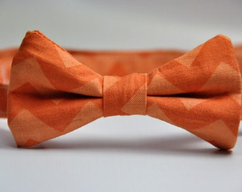 Boy's Bowtie Orange Chevron Bow Tie for Children