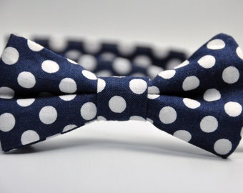 Boy's Bowtie - Navy Blue and White Polka Dot Bow Tie - Children's Tie