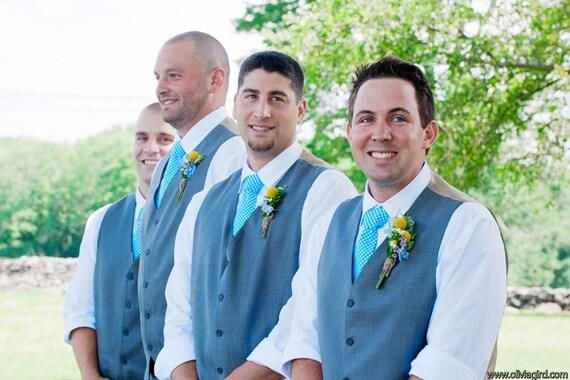 Men's Necktie - Groomsmen - Turquoise Gingham Wedding Ties  - Children's Necktie