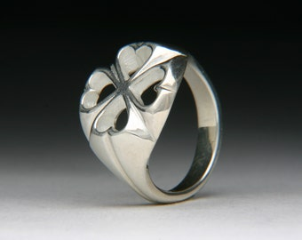 Hearts and Clovers Silver Ring high polished jc527m