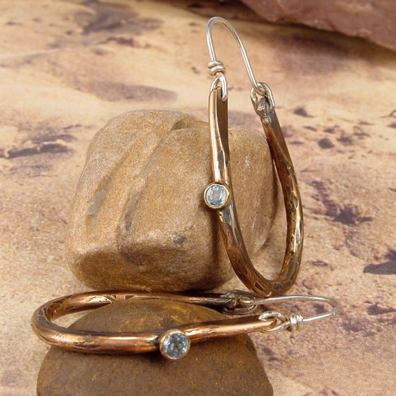BOHEMIAN TRIBAL HOOPS - Bronze Earrings accented with Faceted Blue Topaz