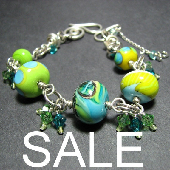 Reserved for SMASHEYESHADOW Turquoise lime chunky silver bead adjustable bracelet lampwork glass beads Swarovski crystals  - Citrus