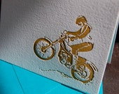 Dirt bike, letterpress card