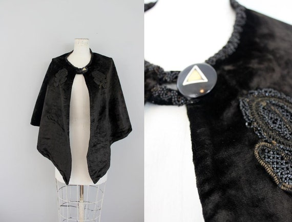 black fur mourning cape with beaded embroidery and bone button