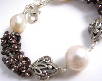 Chocolate and Cream Pearl Bracelet