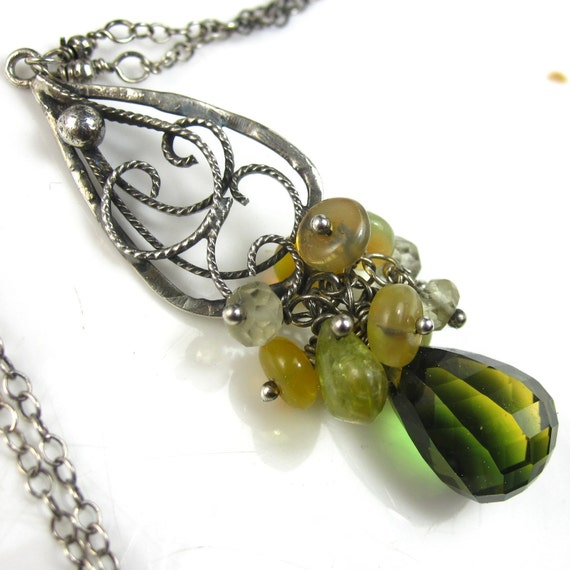Limeade Punch Neclace - Green Yellow Quartz and Sterling Silver