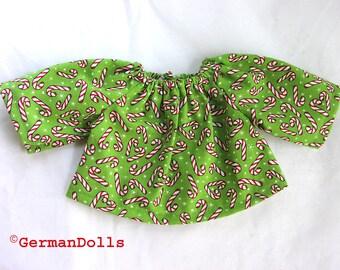 12 inch Waldorf Doll clothes - Candycane shirt - Christmas clothing
