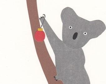Koala in the Christmas Tree - papercut collage card