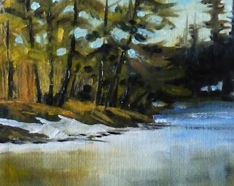 River Landscape, Oil Painting on Stretched Canvas, Original, 6x8, Winter Ice and Snow, Wall Decor, Small Art, Green Trees, Blue Water