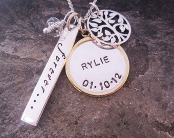 Mixed metal hand stamped necklace Family is Forever