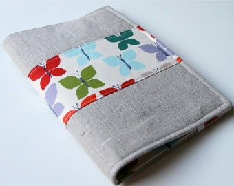Notepad Holder Organizer, Planner Cover, Fabric Portfolio,  List Taker - Butterfly Multi Color Linen