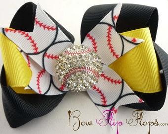 Rhinestone Baseball Hair Bow, Softball Hairbow Football Basketball Soccer Volleyball Choose your bow colors, Bling