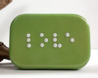 Love Braille Box - Braille Jewelry Box - Handmade Treasure Box - Pearl Green Trinket Box - Ready to Ship #2