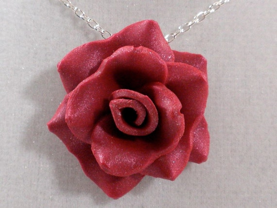 Rose Necklace - Berry Red Pendant - Polymer Clay