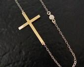 Sideways Cross Necklace With Genuine Diamond, 14K Gold Kelly Ripa Celebrity Jewelry For Less