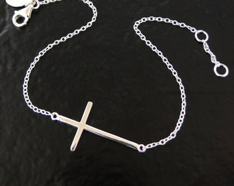 Sideways Cross Bracelet - Sterling Silver, Small, Thin And Sleek