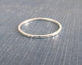 Modern Minimal Ring, Minimal Jewelry, Slim Hammered Ring, Ethical Jewelry, Simple Silver Ring, Recycled Sterling Silver Stacking Ring