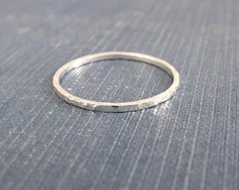 Sterling Silver Ring Thin Hammered Band Modern Minimal Ring Sterling Stacking Ring Recycled Sterling Silver Knuckle Ring, 1mm Alexis