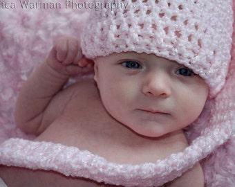 Baby Elf Hat - Baby Long Tail Elf Hat - Pink Elf Hat - Pink Baby Elf Hat - Baby Elf Hat Photo Prop - Preemie through Toddler