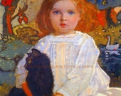 PR-215 Artistic Ephemera 8 x 10 Print - John Duncan - Baba and Billy, Child with Cat - Also Available as Small Prints & Postcards
