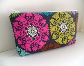 Large Cosmetic Makeup Bag - Bridesmaid Gifts - Medallion Fabric