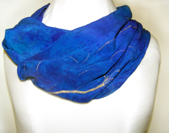 Hand Painted Silk Scarf, Indigo  FREE SHIPPING ETSY