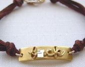 F.ck word bracelet Mature Audience 24k Gold over Fine Silver ID on Suede Cord- Solstice LTD Jewelry
