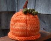 knit baby hat orange pumpkin made to order