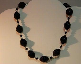 Beaded Bicone necklace - handmade, original