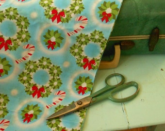 Vintage style Wreath Christmas and Candy Cane Holiday Fabric - one yard of new fabric