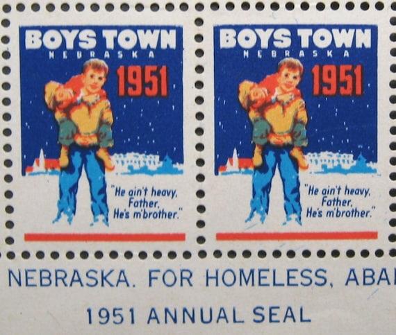 Vintage Christmas Seals 1951 Boys Town Strip of 20 Unused, Boys in Snow