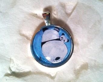 Ma Panda and Baby Panda Art Jewelry - Real Glass - 1 Inch Circle Bezel Pendant - Cuddle Time - Cute Animal - Panda Jewelry