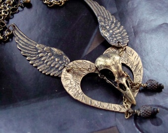 Valentines Gift, Unique Heart and Bird Skull, Chained To My Heart and Wings Necklace, Custom and Original Design Of Hand Made Shock Art