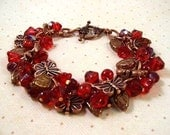 Flower Charm Bracelet, Christmas Red Butterfly Garden, Copper Charm Bracelet, FREE Shipping Worldwide - justCHARMING