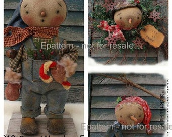 Primitive Deck the Halls  E-PATTERN Standing Snowman, Ornie, Wreath PDF