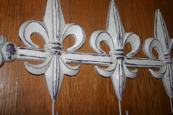 Vintage large fleur de lis wall coat rack hooks - Fleur de lis coat hook ...