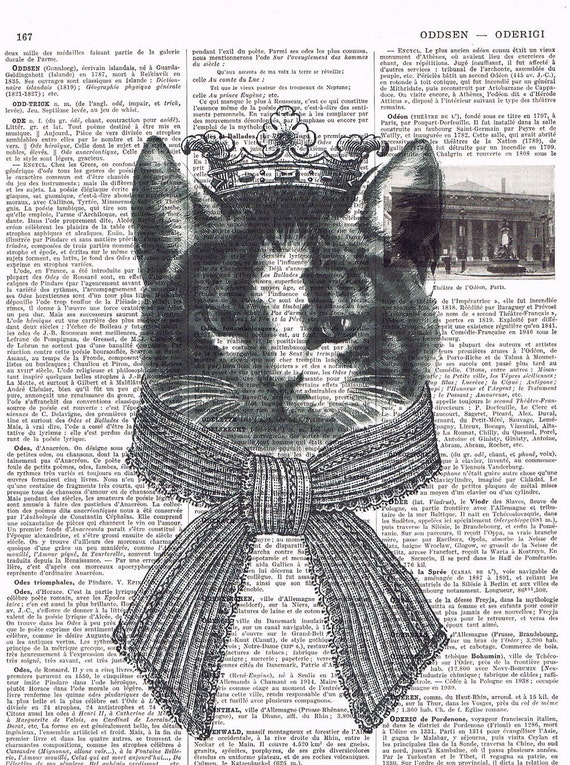 Repurposed Vintage Book Page Prints / Cat,  crown, upcycled, gift, affordable home decor, antique, french. Special, buy 3 get 1 FREE