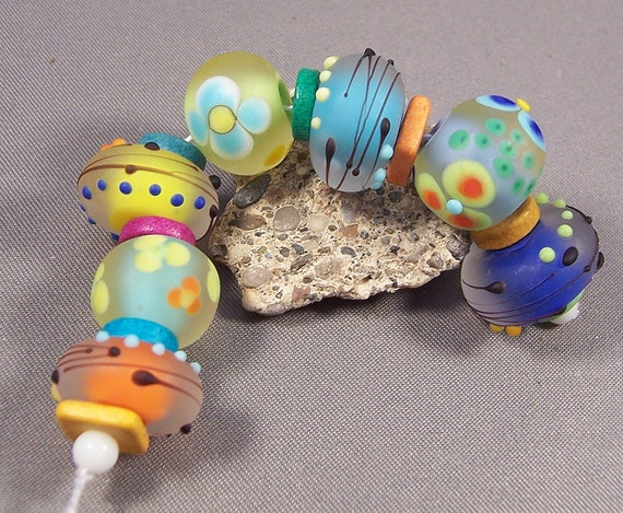 Handmade Lampwork Beads - Cool Summer Nights - Frosted Colors Precision Dots Lampwork Bead Set Hippie Steampunk Beads Lampwork Glass