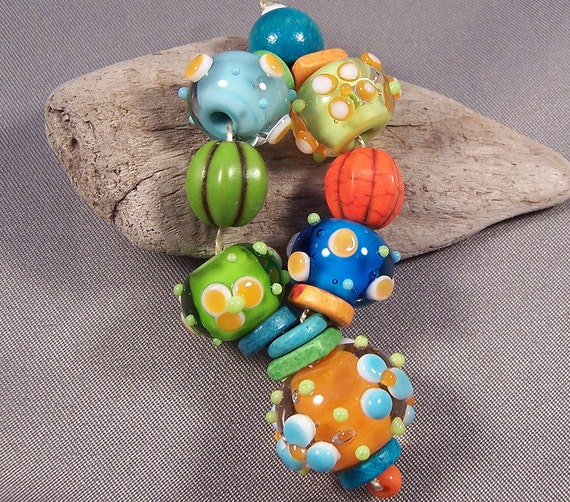 Handmade Lampwork Beads - Summer's Last Hurrah - Hot Colors Dots Flowers Lampwork Bead Set Hippie Steampunk Beads Lampwork Glass