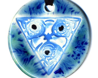 INFECTED Triangle Ceramic Necklace in Blue and Green Crackle medium size
