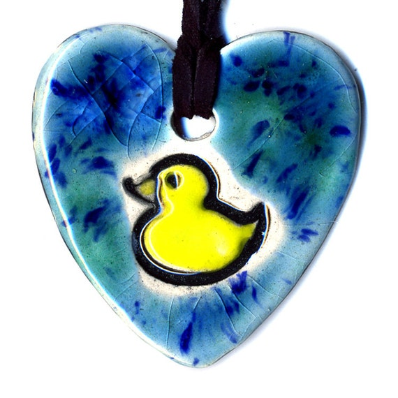 Duck Ceramic Necklace in Blues