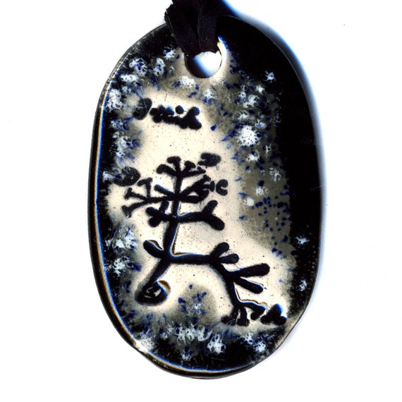 The Original Tree of Life Ceramic Necklace or Ode to Charles Darwin in Black and Gray